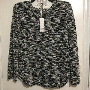 NY Collection New V-neck Sweater Sz 1X Black Gray